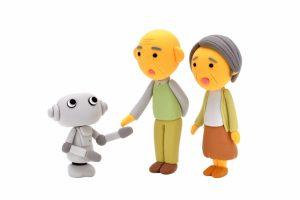 ロボットとシニア夫妻